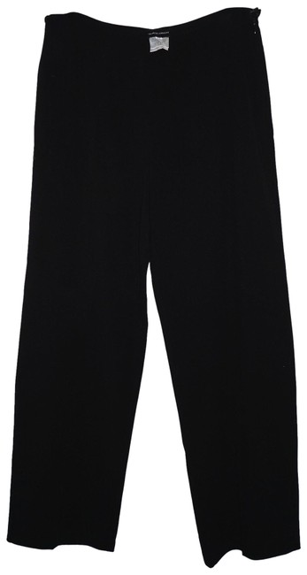 Item - Black Wide Leg Textured Wool Pants Size 12 (L, 32, 33)