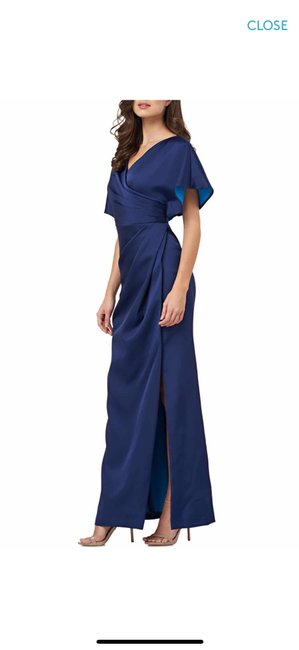 JS Collections Navy Faux Wrap Bonded Satin Gown New Long Formal Dress Size 2 (XS) JS Collections Navy Faux Wrap Bonded Satin Gown New Long Formal Dress Size 2 (XS) Image 1