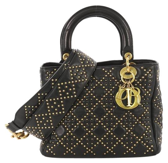 Preload https://img-static.tradesy.com/item/25461747/dior-lady-supple-cannage-studded-medium-black-leather-tote-0-1-540-540.jpg