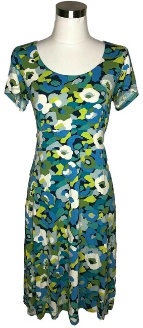 Item - Blue Green N795 Designer Small Sundress Floral Mid-length Short Casual Dress Size 6 (S)