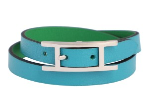Hermès *Sold AFF*TURQUOISE AND BAMBOO GREEN SWIFT DOUBLE TOUR BEHAPI BRACELET