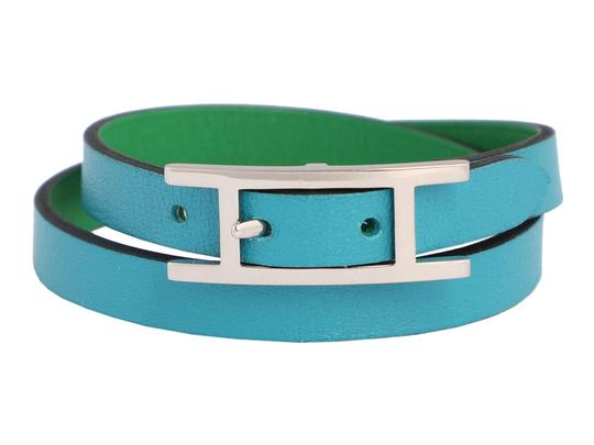 Hermès *Sold AFF*TURQUOISE AND BAMBOO GREEN SWIFT DOUBLE TOUR BEHAPI BRACELET Image 0