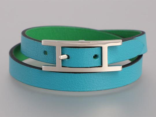 Hermès *Sold AFF*TURQUOISE AND BAMBOO GREEN SWIFT DOUBLE TOUR BEHAPI BRACELET Image 1