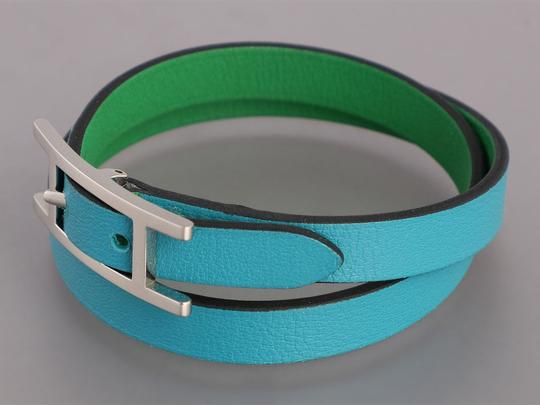 Hermès *Sold AFF*TURQUOISE AND BAMBOO GREEN SWIFT DOUBLE TOUR BEHAPI BRACELET Image 2