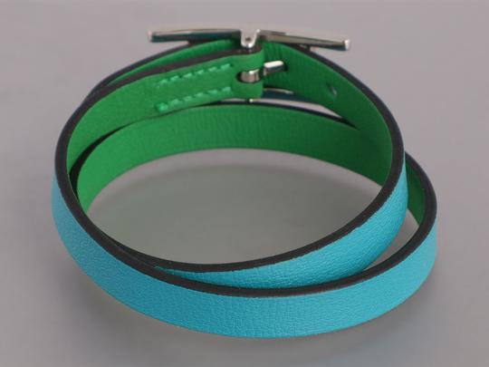 Hermès *Sold AFF*TURQUOISE AND BAMBOO GREEN SWIFT DOUBLE TOUR BEHAPI BRACELET Image 3