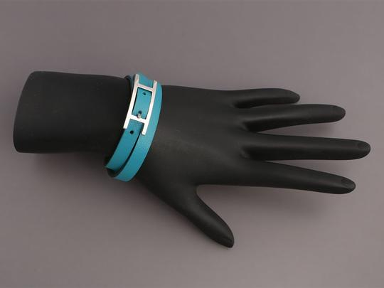 Hermès *Sold AFF*TURQUOISE AND BAMBOO GREEN SWIFT DOUBLE TOUR BEHAPI BRACELET Image 4