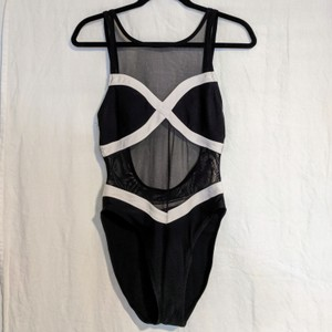 6f6d738b8c5 Anne Cole Black and White sheer 'cut out' one piece swimsuit. High cut
