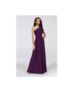 David's Bridal Plum Polyester One-shoulder Georgette Cascade - F19832 Formal Bridesmaid/Mob Dress Size 12 (L)