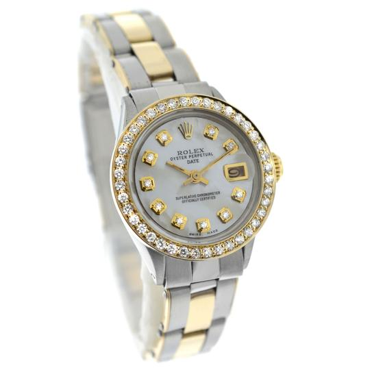 Rolex Ladies Rolex Oyster Perpetual Date 6517 Steel & Gold Diamond MOP 26MM Image 1