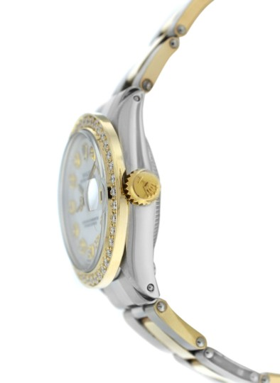Rolex Ladies Rolex Oyster Perpetual Date 6517 Steel & Gold Diamond MOP 26MM Image 2
