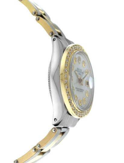 Rolex Ladies Rolex Oyster Perpetual Date 6517 Steel & Gold Diamond MOP 26MM Image 3