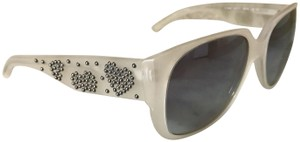 Burberry Clear Pearl Heart Studded Square Gradient Sunglasses