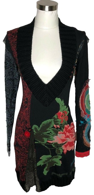Preload https://img-static.tradesy.com/item/25462130/desigual-black-n826-designer-large-knit-floral-long-short-casual-dress-size-12-l-0-1-650-650.jpg