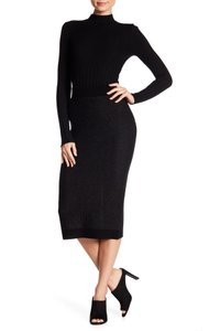 ATM Anthony Thomas Melillo Wool Ribbed Elastic Knit Skirt Black