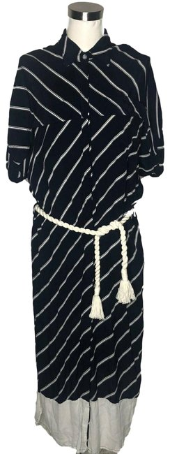 Item - Blue White N839 Designer Small Long Casual Maxi Dress Size 6 (S)