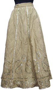 WD.NY Sequins Boho Hippie Gypsy Summer Skirt Tan