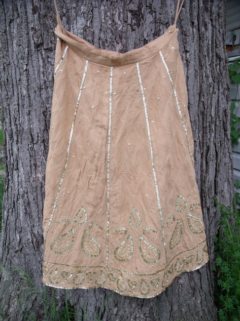 WD.NY Sequins Boho Hippie Gypsy Summer Skirt Tan Image 1