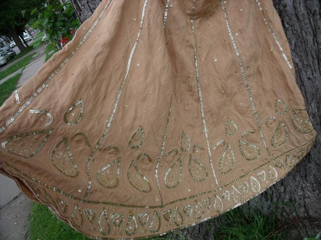 WD.NY Sequins Boho Hippie Gypsy Summer Skirt Tan Image 3