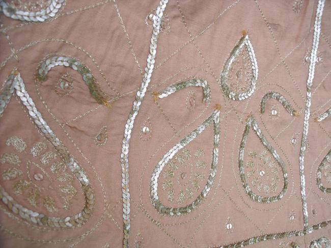 WD.NY Sequins Boho Hippie Gypsy Summer Skirt Tan Image 5
