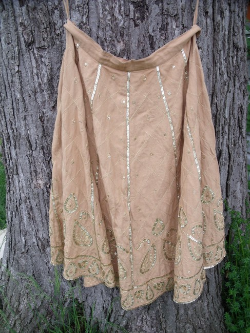WD.NY Sequins Boho Hippie Gypsy Summer Skirt Tan Image 7