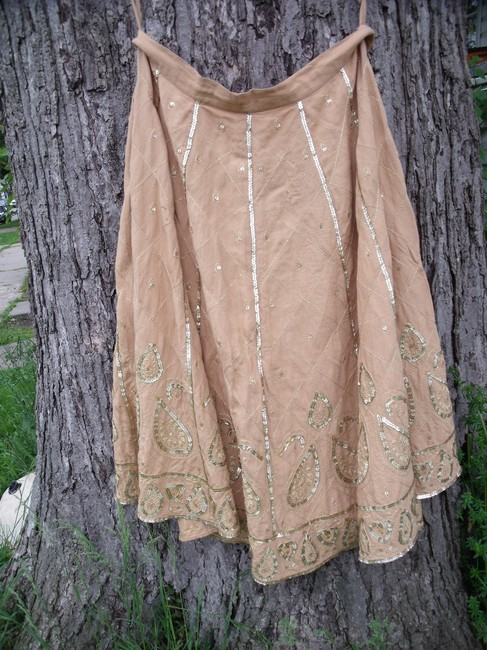 WD.NY Sequins Boho Hippie Gypsy Summer Skirt Tan Image 8