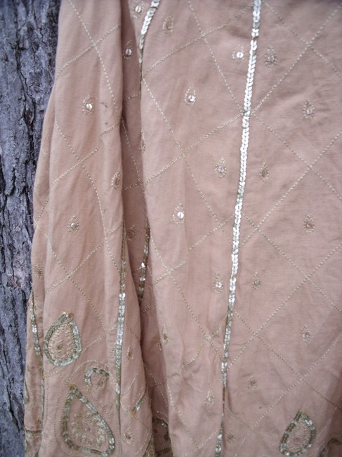 WD.NY Sequins Boho Hippie Gypsy Summer Skirt Tan Image 9
