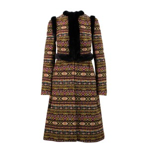 Valentino Tribal Print Mink Trim Fur Coat