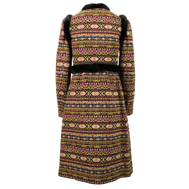 Valentino Tribal Print Mink Trim Fur Coat Image 1