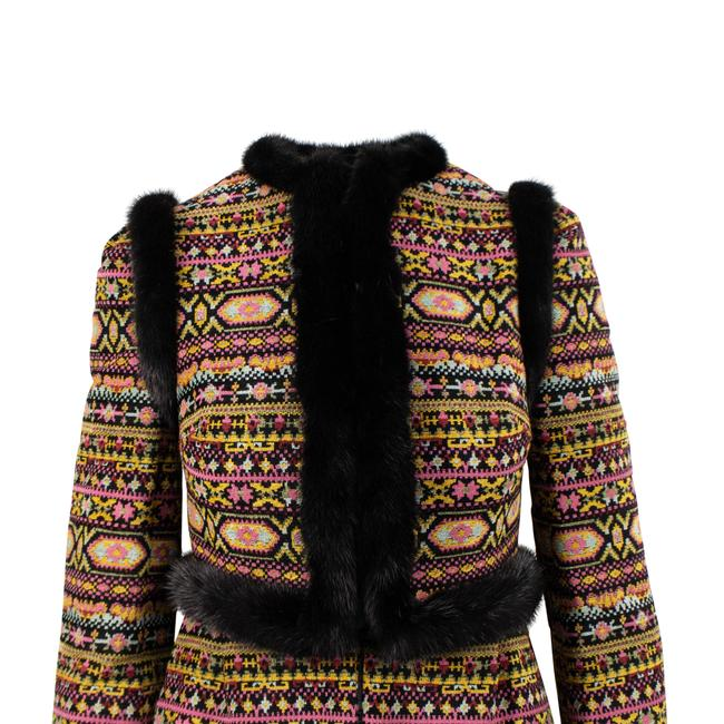 Valentino Tribal Print Mink Trim Fur Coat Image 3