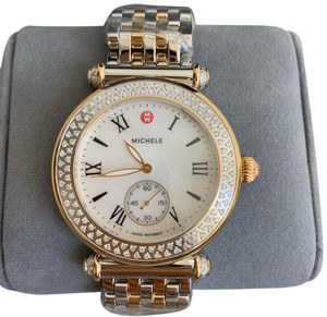 Michele $2295 NWT Caber Diamond MOP Two Tone Gold Watch MWW16A000066