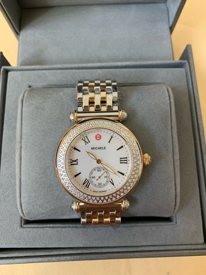 Michele $2295 NWT Caber Diamond MOP Two Tone Gold Watch MWW16A000066 Image 1