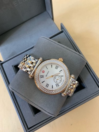 Michele $2295 NWT Caber Diamond MOP Two Tone Gold Watch MWW16A000066 Image 2