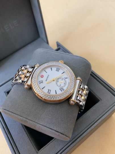 Michele $2295 NWT Caber Diamond MOP Two Tone Gold Watch MWW16A000066 Image 3