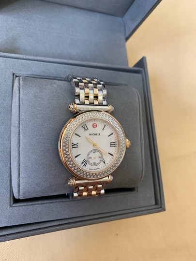 Michele $2295 NWT Caber Diamond MOP Two Tone Gold Watch MWW16A000066 Image 4