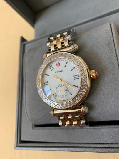 Michele $2295 NWT Caber Diamond MOP Two Tone Gold Watch MWW16A000066 Image 5