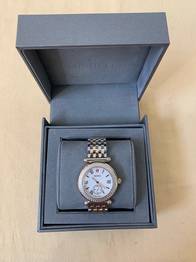 Michele $2295 NWT Caber Diamond MOP Two Tone Gold Watch MWW16A000066 Image 6