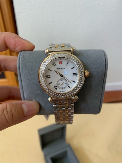 Michele $2295 NWT Caber Diamond MOP Two Tone Gold Watch MWW16A000066 Image 7