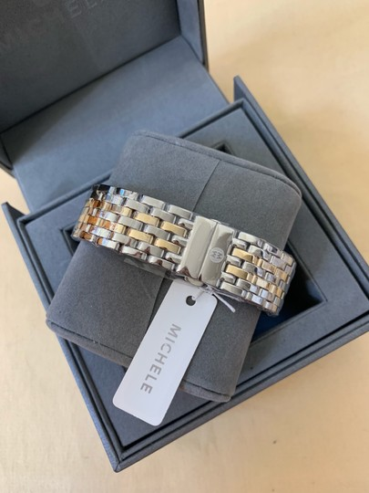 Michele $2295 NWT Caber Diamond MOP Two Tone Gold Watch MWW16A000066 Image 8