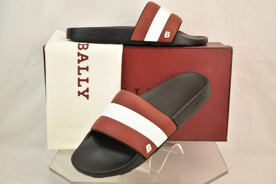 Bally Black Sleter Red Striped Rubber Logo Sandal Slides D 10 Us 43 Italy Shoes Image 1