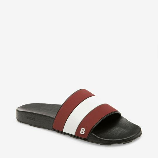 Bally Black Sleter Red Striped Rubber Logo Sandal Slides D 10 Us 43 Italy Shoes Image 4