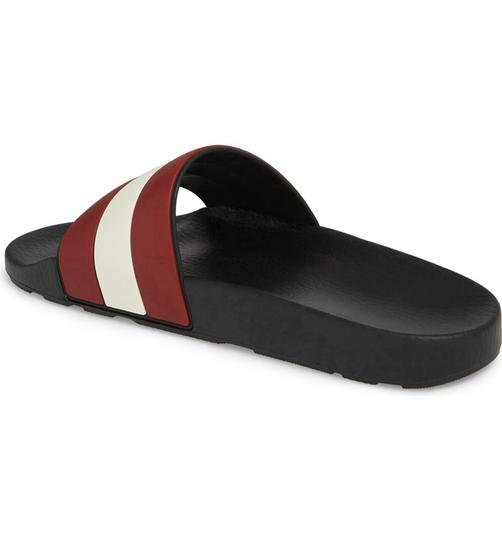 Bally Black Sleter Red Striped Rubber Logo Sandal Slides D 10 Us 43 Italy Shoes Image 6
