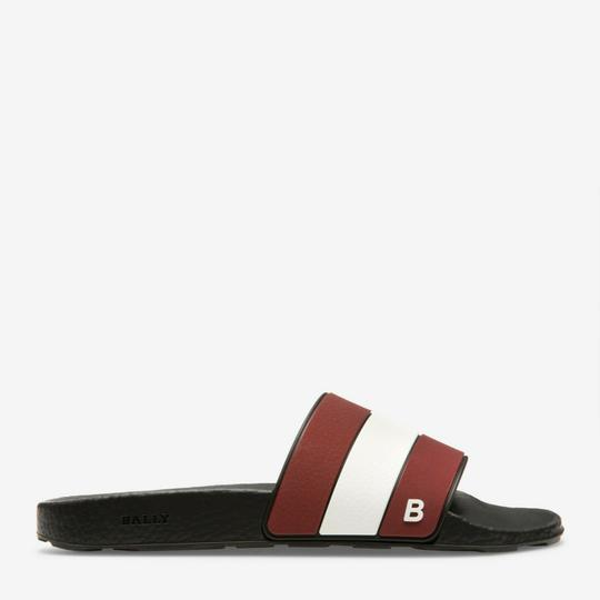 Bally Black Sleter Red Striped Rubber Logo Sandal Slides D 10 Us 43 Italy Shoes Image 8
