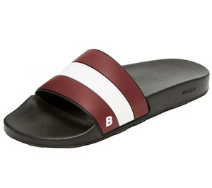 Bally Black Sleter Red Striped Rubber Logo Sandal Slides D 8 Us 41 Italy Shoes