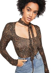 Free People Animal Print Tie Neck Pussy Bow Madewell Top Brown