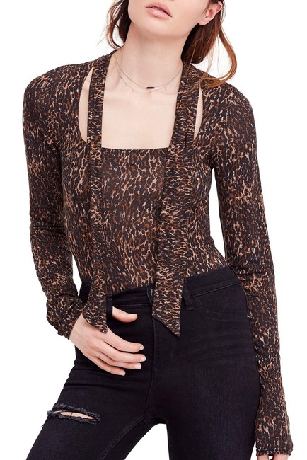 Free People Animal Print Tie Neck Pussy Bow Madewell Top Brown Image 1