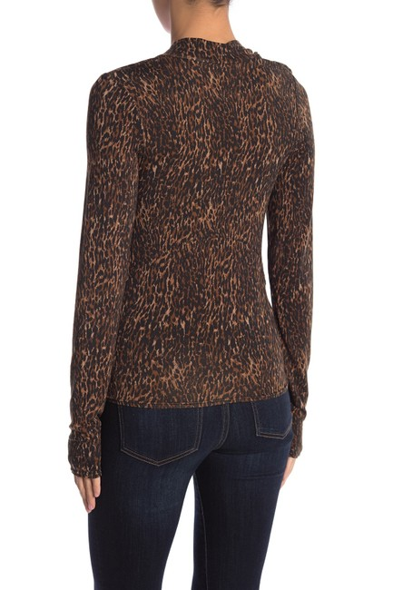 Free People Animal Print Tie Neck Pussy Bow Madewell Top Brown Image 2