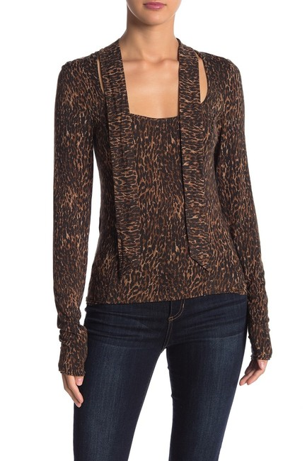 Free People Animal Print Tie Neck Pussy Bow Madewell Top Brown Image 3