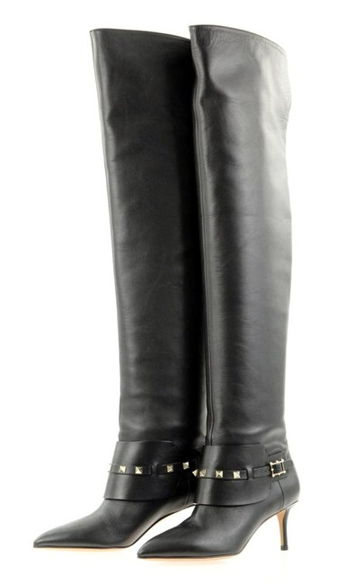 Item - Black Rockstud Leather Thigh High Over Knee Boots/Booties Size EU 36 (Approx. US 6) Regular (M, B)