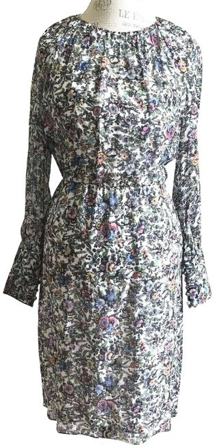 Item - Multicolor L England Floral Silk Pleated Bodice Long Sleeve 2/L Mid-length Work/Office Dress Size 12 (L)
