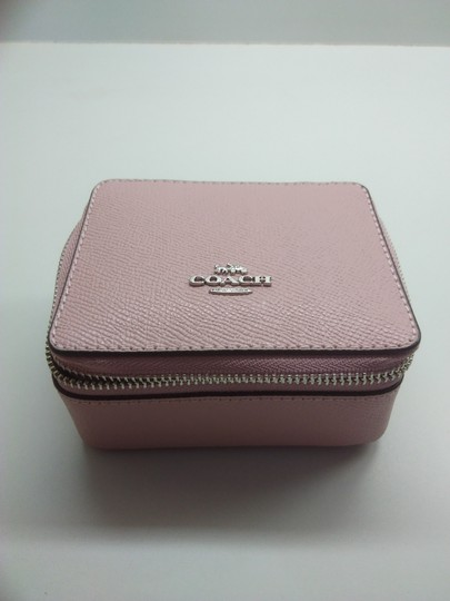 Coach Coach Pink Pebbled Leather Jewelry Case Image 1
